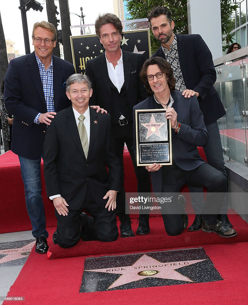 Actor <a gi-track='captionPersonalityLinkClicked' href=/galleries/search?phrase=Doug+Davidson&family=editorial&specificpeople=775970 ng-click='$event.stopPropagation()'>Doug Davidson</a>, Hollywood Chamber of Commerce president and CEO <a gi-track='captionPersonalityLinkClicked' href=/galleries/search?phrase=Leron+Gubler&family=editorial&specificpeople=692259 ng-click='$event.stopPropagation()'>Leron Gubler</a>, recording artists <a gi-track='captionPersonalityLinkClicked' href=/galleries/search?phrase=Richard+Marx&family=editorial&specificpeople=227408 ng-click='$event.stopPropagation()'>Richard Marx</a> and <a gi-track='captionPersonalityLinkClicked' href=/galleries/search?phrase=Rick+Springfield&family=editorial&specificpeople=242775 ng-click='$event.stopPropagation()'>Rick Springfield</a> and actor Jason Thompson attend the ceremony honoring Springfield with a Star on the Hollywood Walk of Fame on May 9, 2014 in Hollywood, California.