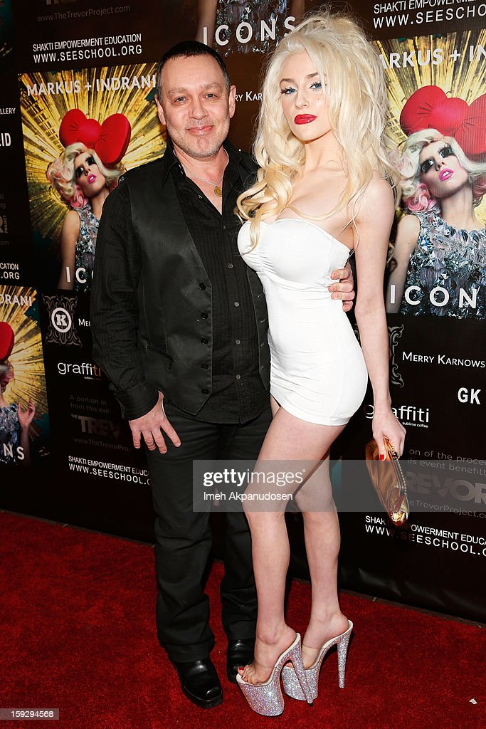 Actor <a gi-track='captionPersonalityLinkClicked' href=/galleries/search?phrase=Doug+Hutchison&family=editorial&specificpeople=2818369 ng-click='$event.stopPropagation()'>Doug Hutchison</a> (L) and <a gi-track='captionPersonalityLinkClicked' href=/galleries/search?phrase=Courtney+Stodden&family=editorial&specificpeople=8603458 ng-click='$event.stopPropagation()'>Courtney Stodden</a> attend the Markus + Indrani ICONS Book Launch Party at Merry Karnowsky Gallery on January 10, 2013 in Los Angeles, California.