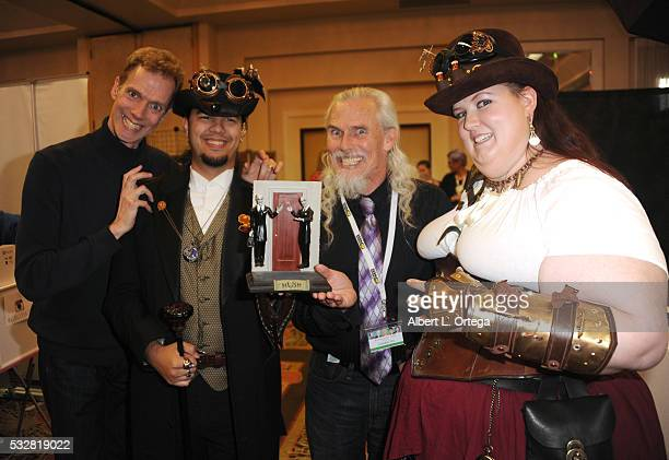 Actor Doug Jones cosplayer William Harmon IV actor Camden Toy and cosplayer Diane Shrebe pose with their characters The Gentlemen from the 'Buffy The...