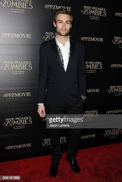 Actor Douglas Booth attends the premiere of 'Pride and Prejudice and Zombies' at Harmony Gold Theatre on January 21 2016 in Los Angeles California