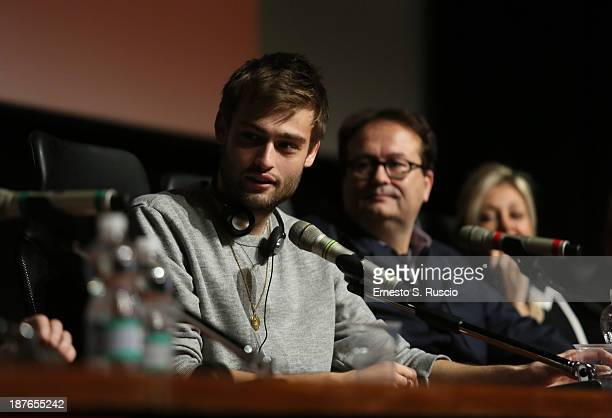 Actor Douglas Booth director Carlo Carlei and Nadja Swarovski speak at the 'Romeo And Juliet' Press Conference during the 8th Rome Film Festival at...