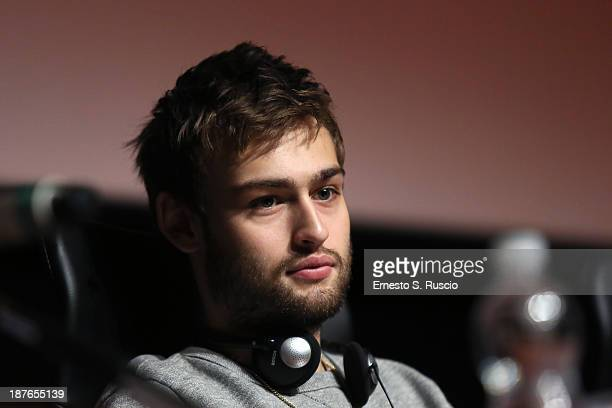 Actor Douglas Booth speaks at the 'Romeo And Juliet' Press Conference during the 8th Rome Film Festival at the Auditorium Parco Della Musica on...