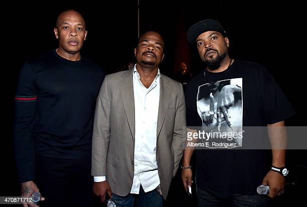 Actor Dr Dre director F Gary Gray and actor Ice Cube attend Universal Pictures Invites You to an Exclusive Product Presentation Highlighting its...