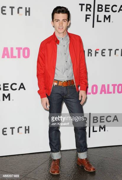 Actor Drake Bell arrives at the Los Angeles Premiere 'Palo Alto' at the DGA Theatre on May 5 2014 in Los Angeles California