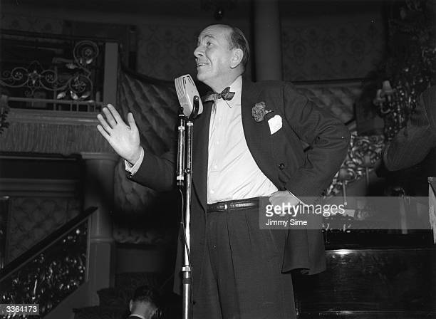Actor dramatist and composer Noel Coward rehearsing for a show at the Cafe de Paris London