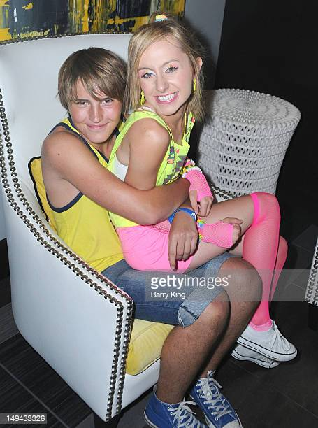 Actor Drew Patrick and actress Allisyn Ashley Arm attend Sterling Beaumon's Summer Bash on July 27 2012 in Hollywood California