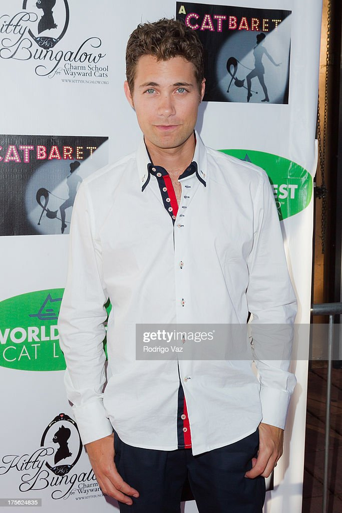 Actor <a gi-track='captionPersonalityLinkClicked' href=/galleries/search?phrase=Drew+Seeley&family=editorial&specificpeople=835160 ng-click='$event.stopPropagation()'>Drew Seeley</a> arrives at 'CATberet' - A Musical Review for local cat and kitten rescue center Kitty Bungalow Charm School For Wayward Cats at Belasco Theatre on August 4, 2013 in Los Angeles, California.