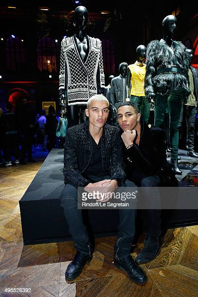 Actor Dudley O'Shaughnessy and Balmain Designer Olivier Rousteing attend the BALMAIN x HM Paris Launch Party on November 3 2015 in Paris France