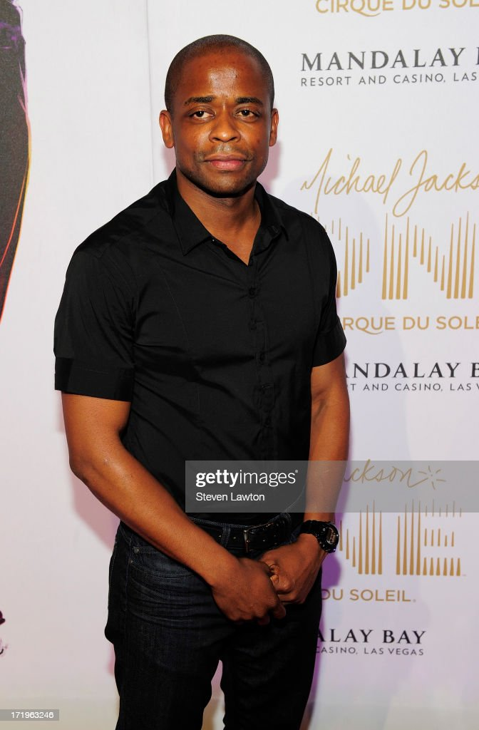 Actor <a gi-track='captionPersonalityLinkClicked' href=/galleries/search?phrase=Dule+Hill&family=editorial&specificpeople=213248 ng-click='$event.stopPropagation()'>Dule Hill</a> arrives at the world premiere of 'Michael Jackson ONE by Cirque du Soleil' at THEhotel at Mandalay Bay on June 29, 2013 in Las Vegas, Nevada.