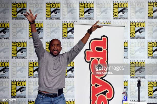 Actor Dule Hill speaks onstage at the 'Psych' reunion and movie sneak peek during ComicCon International 2017 at San Diego Convention Center on July...