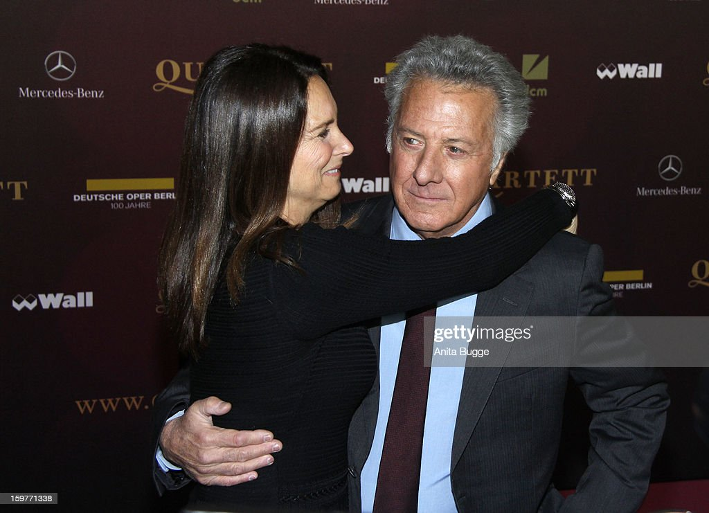 Actor <a gi-track='captionPersonalityLinkClicked' href=/galleries/search?phrase=Dustin+Hoffman&family=editorial&specificpeople=171356 ng-click='$event.stopPropagation()'>Dustin Hoffman</a> and his wife Lisa Gottsegen attend the 'Quartet' Berlin Photocall at Deutsche Oper on January 20, 2013 in Berlin, Germany.