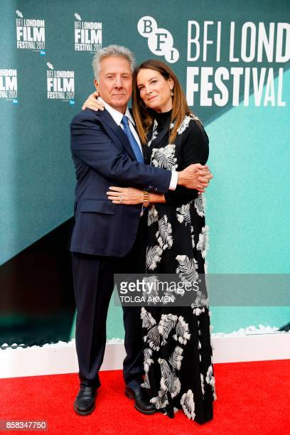 US actor Dustin Hoffman and his wife Lisa Hoffman pose upon arrival for the UK premiere of the film 'The Meyerowitz Stories' during the BFI London...