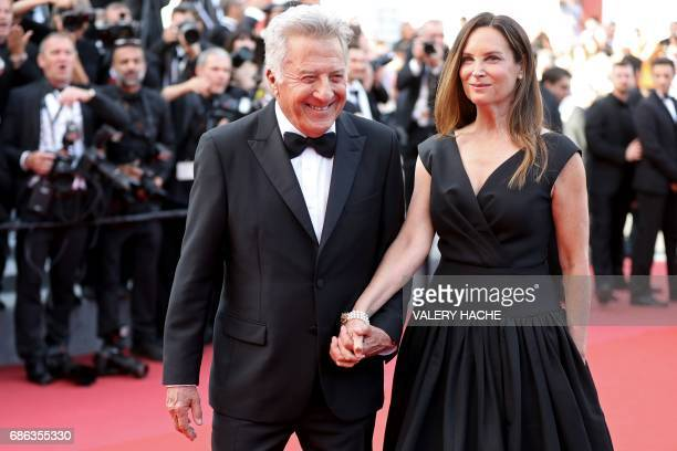 US actor Dustin Hoffman and his wife Lisa pose as they arrive on May 21 2017 for the screening of the film 'The Meyerowitz Stories ' at the 70th...