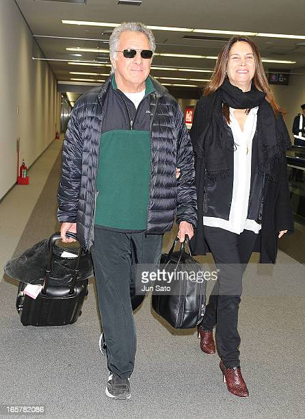 Actor Dustin Hoffman and Lisa Hoffman are seen upon arrival at Nartia International Airport on April 6 2013 in Narita Japan