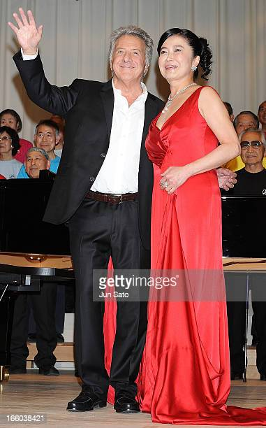 Actor Dustin Hoffman and opera singer Michie Nakamaru attend the 'Quartet' Japan Premiere at Iino Hall on April 8 2013 in Tokyo Japan The film will...