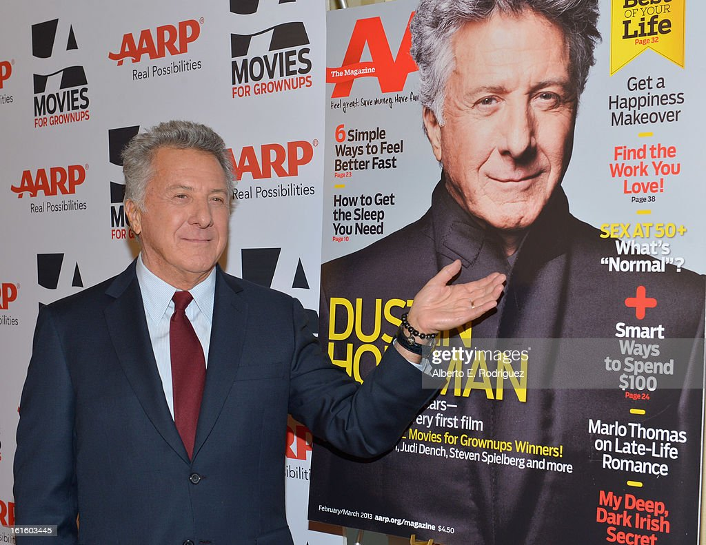 Actor Dustin Hoffman arrives to AARP The Magazine's 12th Annual Movies for Grownups Awards Luncheon at Peninsula Hotel on February 12, 2013 in Beverly Hills, California.