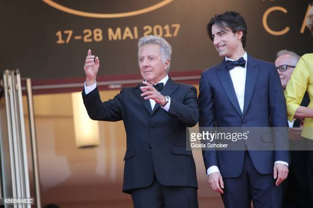 Actor Dustin Hoffman director Noah Baumbach attend the 'The Meyerowitz Stories' screening during the 70th annual Cannes Film Festival at Palais des...
