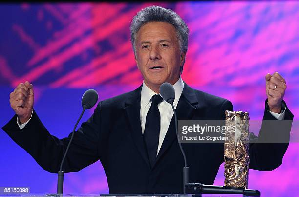 Actor Dustin Hoffman on stage during the show at the Cesar Film Awards held at the Chatelet Theater on February 27 2009 in Paris