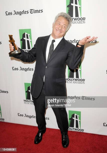 Actor Dustin Hoffman poses with the Hollywood Breakthrough Director Award during the 16th Annual Hollywood Film Awards Gala presented by The Los...