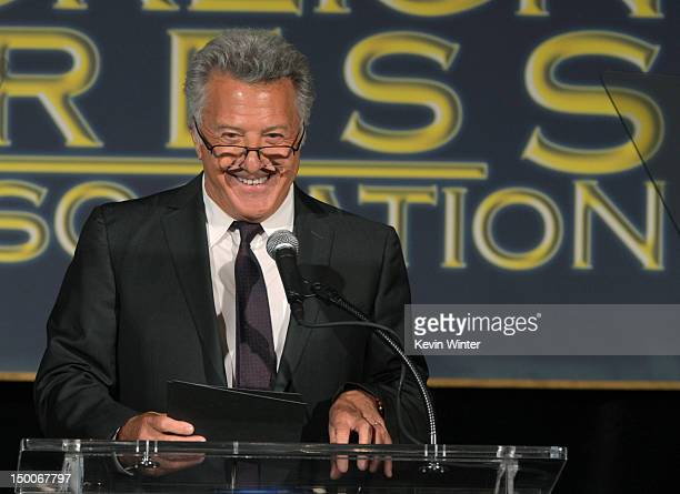 Actor Dustin Hoffman speaks onstage during the Hollywood Foreign Press Association's 2012 Installation Luncheon held at the Beverly Hills Hotel on...