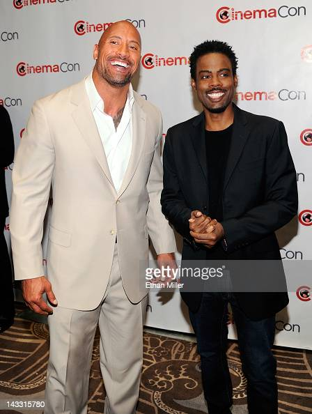 Actor Dwayne Johnson and actor/comedian Chris Rock arrive at a Paramount Pictures and DreamWorks Animation event at Caesars Palace during the opening...