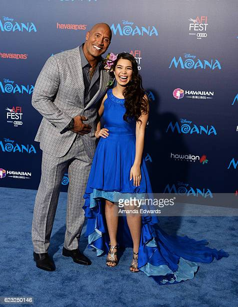 Actor Dwayne Johnson and actress Auli'i Cravalho arrive at the AFI FEST 2016 Presented By Audi premiere of Disney's 'Moana' at the El Capitan Theatre...