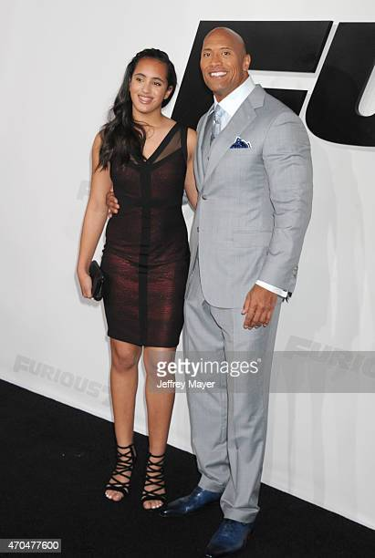Actor Dwayne Johnson and daughter Simone Alexandra Johnson arrive at the 'Furious 7' Los Angeles Premiere at TCL Chinese Theatre IMAX on April 1 2015...
