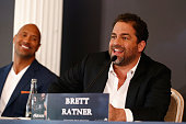 Actor Dwayne Johnson and director Brett Ratner attend the press conference of Paramount Pictures 'HERCULES' at Hotel Adlon on August 21 2014 in...