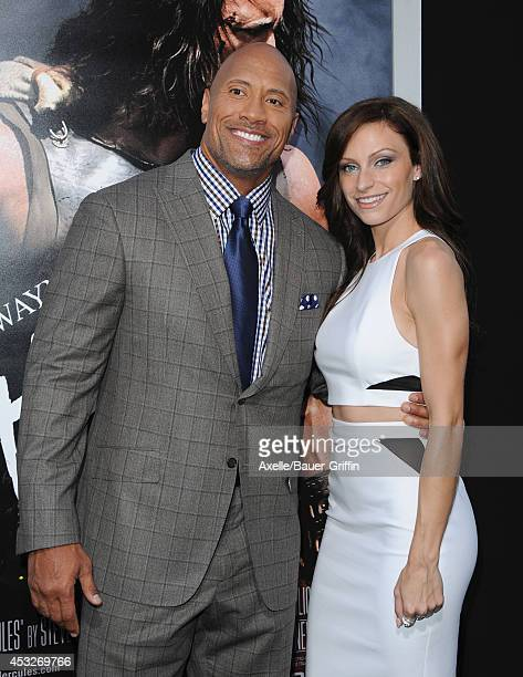 Actor Dwayne Johnson and Lauren Hashian arrive at the Los Angeles Premiere of 'Hercules' at TCL Chinese Theatre on July 23 2014 in Hollywood...