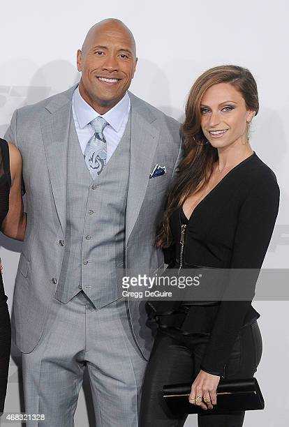 Actor Dwayne Johnson and Lauren Hashian arrive at the Los Angeles premiere of 'Furious 7' at TCL Chinese Theatre IMAX on April 1 2015 in Hollywood...