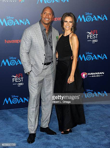Actor Dwayne Johnson and Lauren Hashian arrive for the AFI FEST 2016 Presented By Audi Premiere Of Disney's 'Moana' held at the El Capitan Theatre on...