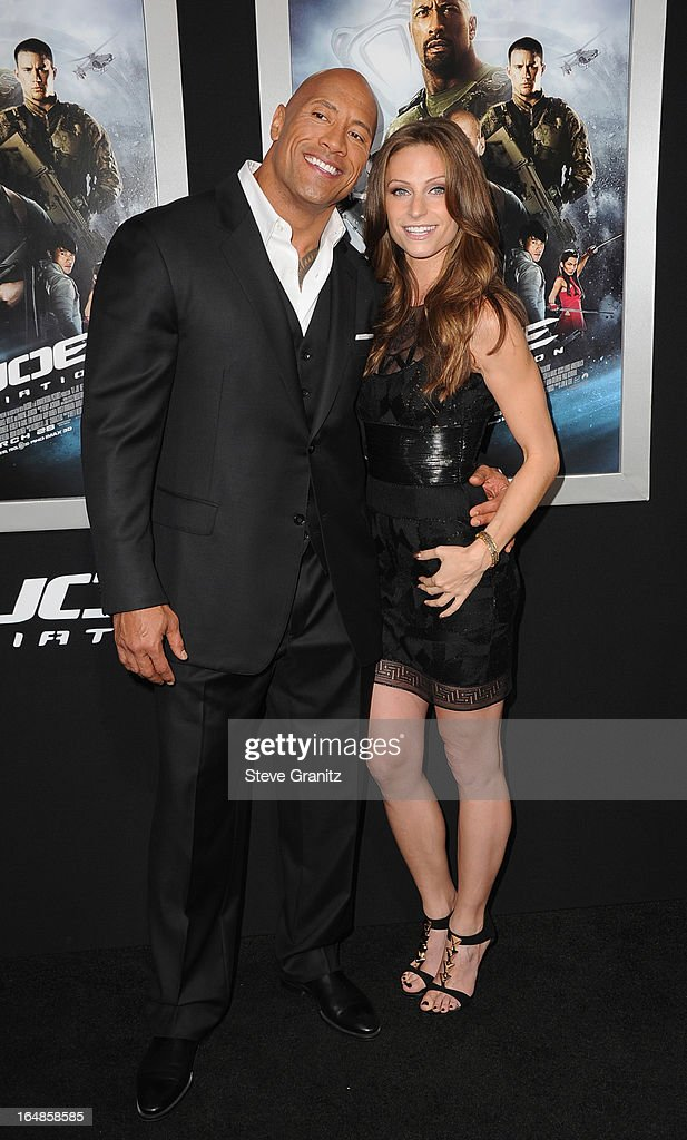 Actor <a gi-track='captionPersonalityLinkClicked' href=/galleries/search?phrase=Dwayne+Johnson&family=editorial&specificpeople=210704 ng-click='$event.stopPropagation()'>Dwayne Johnson</a> and Lauren Hashian attend the 'G.I. Joe: Retaliation' Los Angeles Premiere at TCL Chinese Theatre on March 28, 2013 in Hollywood, California.