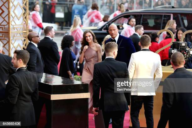 Actor Dwayne Johnson and Lauren Hashian attends the 89th Annual Academy Awards at Hollywood Highland Center on February 26 2017 in Hollywood...