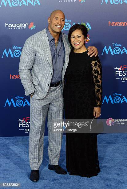 Actor Dwayne Johnson and mother Ata Johnson arrive for the AFI FEST 2016 Presented By Audi Premiere Of Disney's 'Moana' held at the El Capitan...