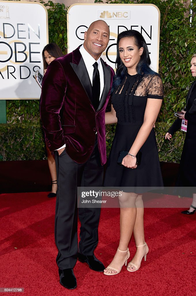 Actor Dwayne Johnson (L) and Simone Alexandra Johnson attends the 73rd Annual Golden Globe Awards held at the Beverly Hilton Hotel on January 10, 2016 in Beverly Hills, California.