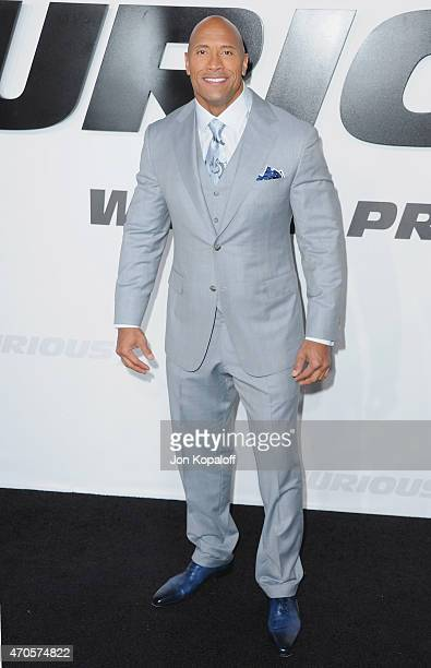 Actor Dwayne Johnson arrives at the Los Angeles Premiere 'Furious 7' at TCL Chinese Theatre IMAX on April 1 2015 in Hollywood California