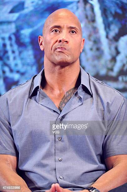 Actor Dwayne Johnson attends 'San Andreas' press conference at China World Trade Center on May 28 2015 in Beijing China