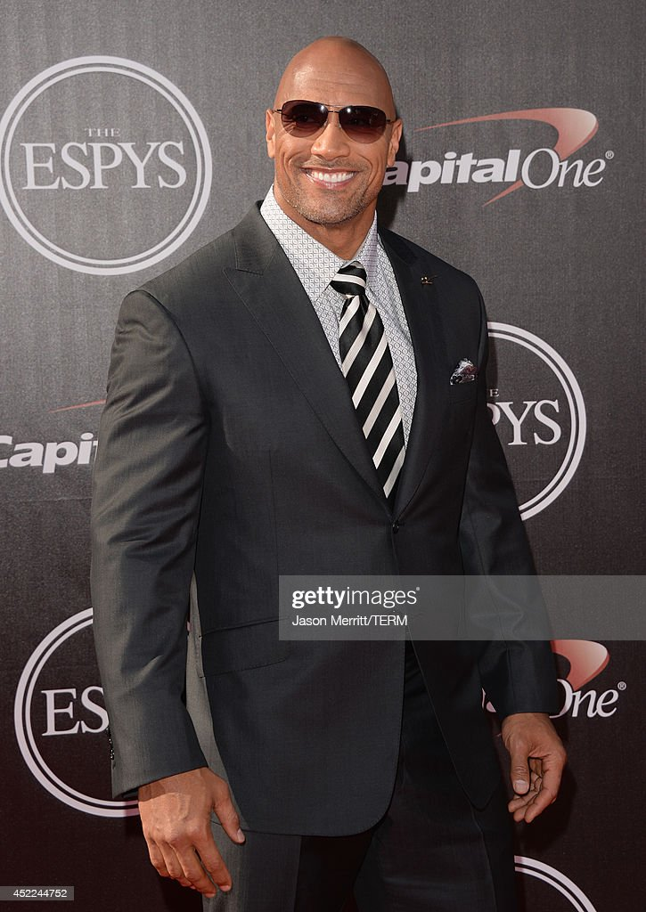 Actor <a gi-track='captionPersonalityLinkClicked' href=/galleries/search?phrase=Dwayne+Johnson&family=editorial&specificpeople=210704 ng-click='$event.stopPropagation()'>Dwayne Johnson</a> attends The 2014 ESPYS at Nokia Theatre L.A. Live on July 16, 2014 in Los Angeles, California.