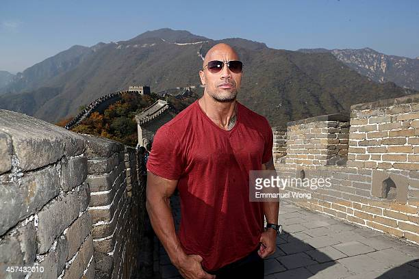 Actor Dwayne Johnson attends the Great Wall on October 18 2014 in Beijing China