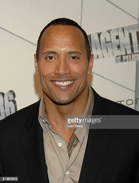 Actor Dwayne Johnson attends the premiere of 'Get Smart' at Capitol Cinema on July 8 2008 in Madrid Spain