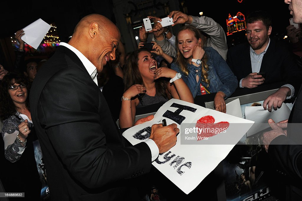 Actor Dwayne Johnson attends the premiere of Paramount Pictures' 'G.I. Joe:Retaliation' at TCL Chinese Theatre on March 28, 2013 in Hollywood, California.