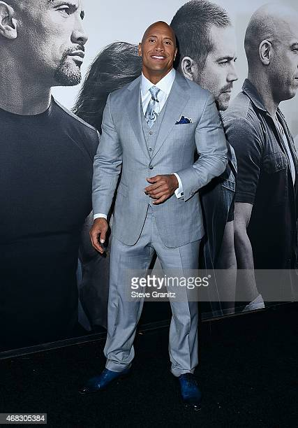 Actor Dwayne Johnson attends Universal Pictures' 'Furious 7' premiere at TCL Chinese Theatre on April 1 2015 in Hollywood California