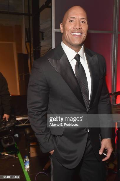 Actor Dwayne Johnson backstage at the 48th NAACP Image Awards at Pasadena Civic Auditorium on February 11 2017 in Pasadena California