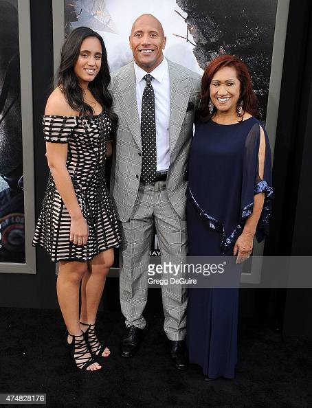 Actor Dwayne Johnson daughter Simone Alexandra Johnson and mom Ata Johnson arrive at the Los Angeles premiere of 'San Andreas' at TCL Chinese Theatre...