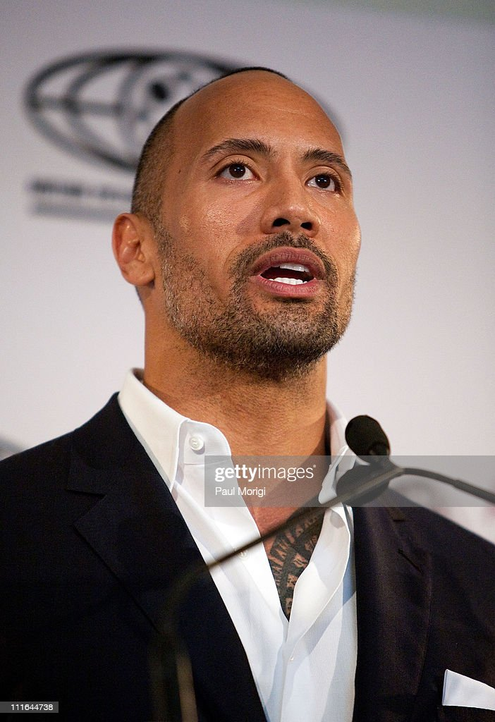 Actor <a gi-track='captionPersonalityLinkClicked' href=/galleries/search?phrase=Dwayne+Johnson&family=editorial&specificpeople=210704 ng-click='$event.stopPropagation()'>Dwayne Johnson</a> delivers keynote remarks during The Motion Picture Association of America's 'Business of Show Business' symposium at the Hotel Monaco on April 21, 2009 in Washington, DC.