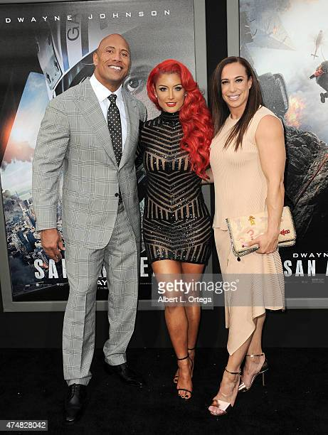 Actor Dwayne Johnson model/TV personality Eva Marie and Dany Garcia arrive for the Premiere Of Warner Bros Pictures' 'San Andreas' held at TCL...