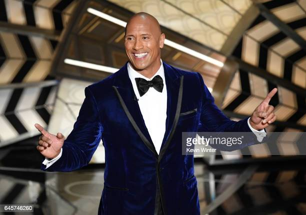 Actor Dwayne Johnson onstage during the 89th Annual Academy Awards at Hollywood Highland Center on February 26 2017 in Hollywood California