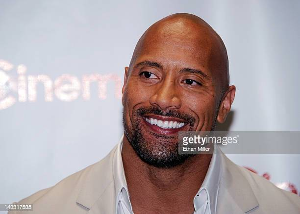 Actor Dwayne Johnson recipient of the Action Star of the Decade Award arrives at a Paramount Pictures and DreamWorks Animation event at Caesars...