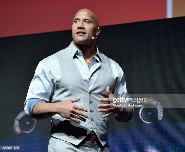Actor Dwayne Johnson speaks onstage at CinemaCon 2017 Paramount Pictures Presentation Highlighting Its Summer of 2017 and Beyond at The Colosseum at...