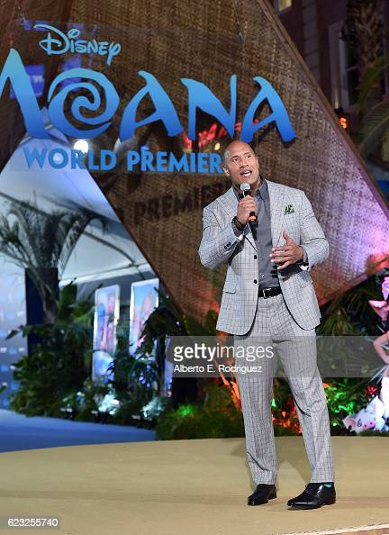 Actor Dwayne Johnson speaks onstage at The World Premiere of Disney's 'MOANA' at the El Capitan Theatre on Monday November 14 2016 in Hollywood CA